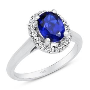 gümüş mavi taşlı yüzük